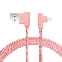 Nylon Braided Micro USB 90 Degree Right Angle 2A Fast Data Sync Charger Cable Dropshipping Mar19(China)