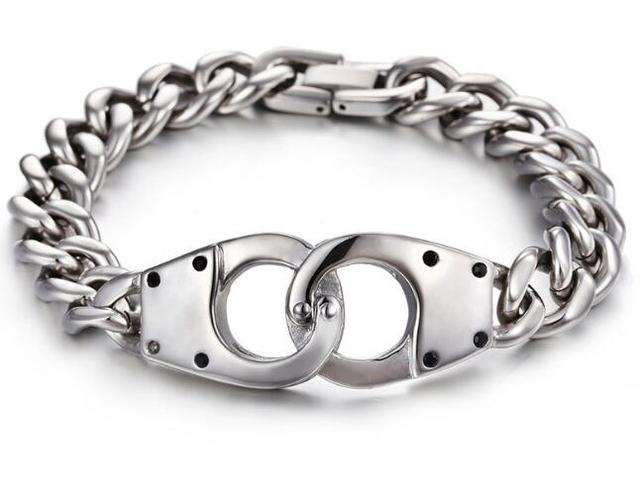 8 46 Unique Silver Handcuff Bracelet Stainless Steel Mens Jewelry New Hot Ing