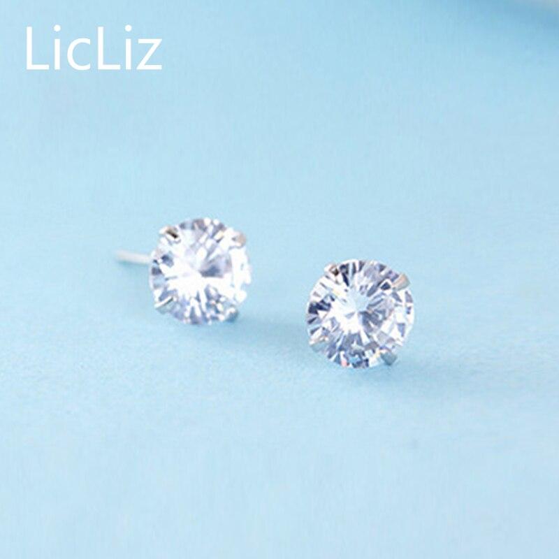 LicLiz-100-925-Sterling-Silver-CZ-Stud-Earrings-For-Women-Jewelry-Simple-Cubic-Zircon-Ear-Piercing-Post-Earrings-Classic-LE0285-3