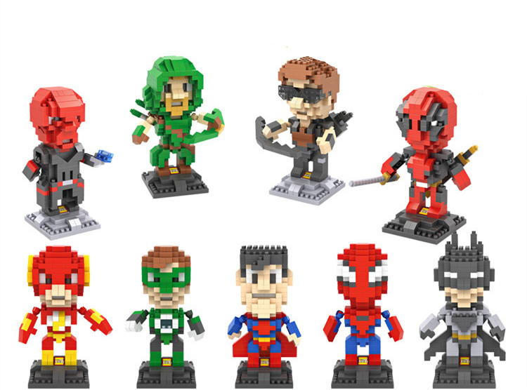 LOZ Diamond Building Blocks Figure Comics Mini Superhero Toys Action Figure Super Heroes Block Gifts for Boys Girls Decoration loz architecture space shuttle mini diamond nano building blocks toys loz space shuttle diy bricks action figure children toys