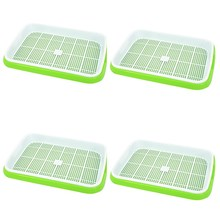 4Pc/Set Plant Flower Germination Tray Box Double-Layer Seed Sprouter Nursery Tray Hydroponics Basket (Green#)(China)