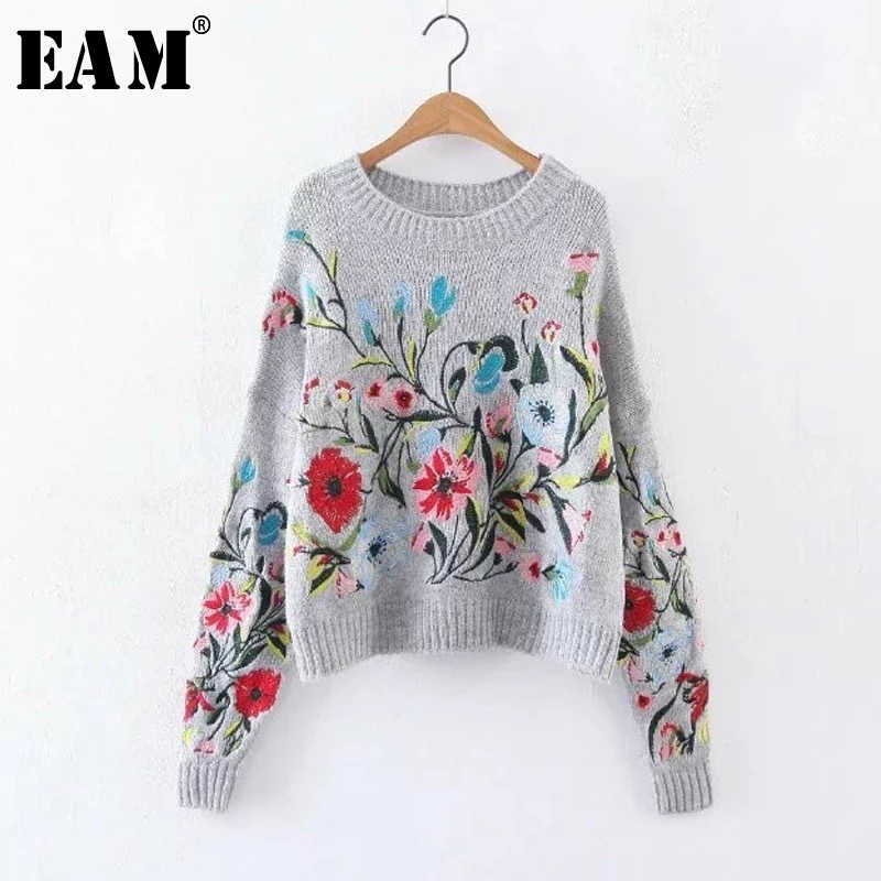 [EAM] 2019 Autumn Winter Round Neck Long Sleeve Flower Embroidered Knitting Warm Loose Sweater Pollovers Women Fashion V74702