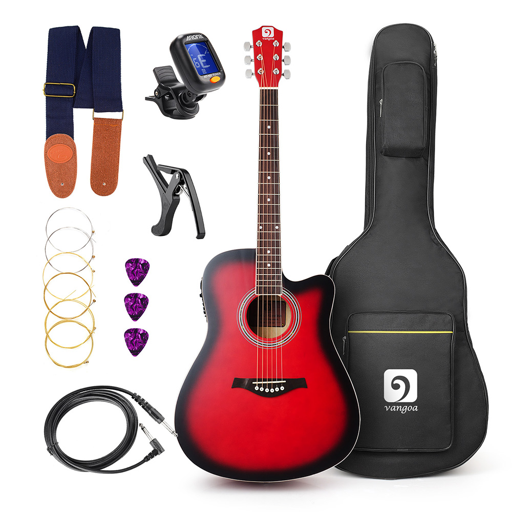 Acoustic Electric Cutaway Guitar 41 Inch Full-Size with Guitar Kit, Guitar Gig Bag, Strap, Tuner, String, Picks, Capo fzone fc 81 aluminum alloy guitar capo for 6 string guitar black red