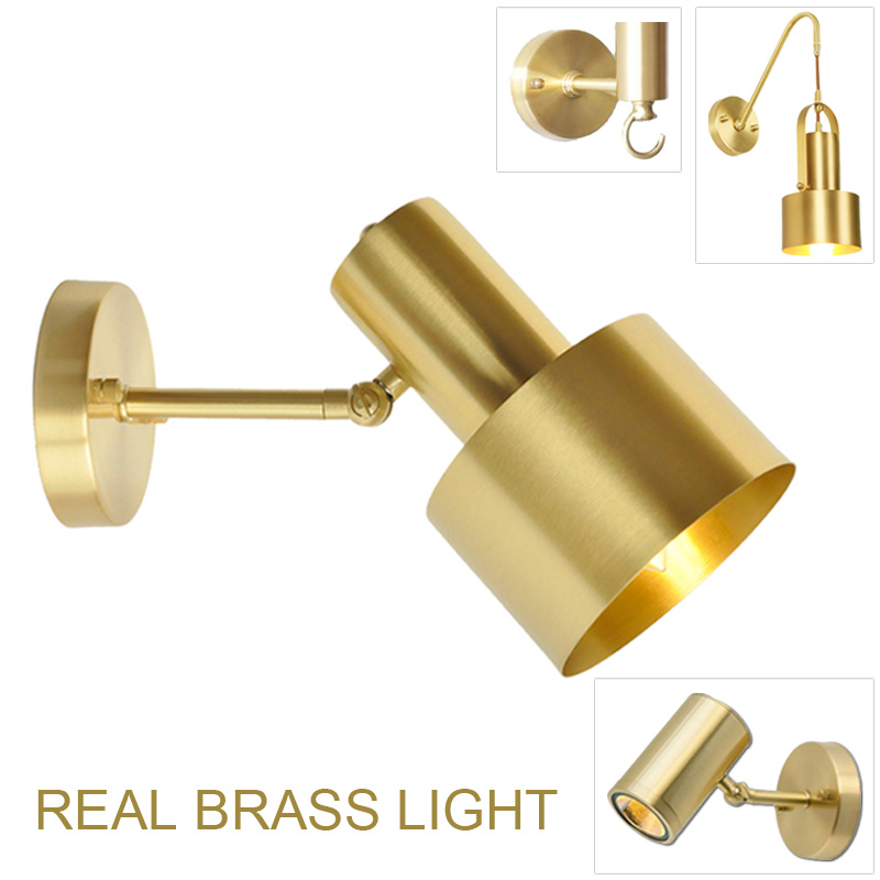 Minimalist copper brass wall light lamp LED bedside toilet bathroom reading wall light LED sconce modern
