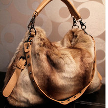 Fashion vintage women's fashion fur handbag plush faux rivet one shoulder cross-body handbag large bag