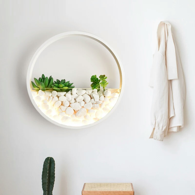 Moderne créatif plante applique murale LED fleurs artificielles pierre applique de mariage chambre chevet salon Simple applique murale