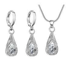 Luxury Charm CZ Crystal Water Drop Pendant Snake Chain Necklaces Earrings Sets Platinum Plated Women bridal Wedding Jewelry sets