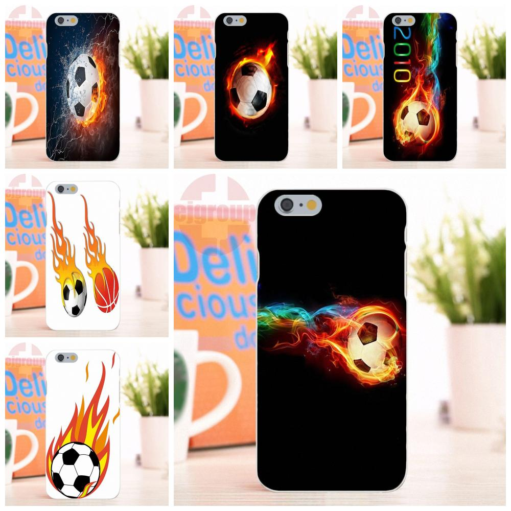 EJGROUP Fire Soccer Ball Soft Silicone TPU Transparent Fashion Cell Phone Cover Case For iPhone 4 4S 5 5S 5C SE 6 6S 7 8 X Plus