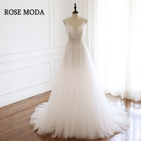 Роза Moda свадебное платье Boho 2019 нежный бисера Кружева свадебное платье es пляжные реальные фотографии