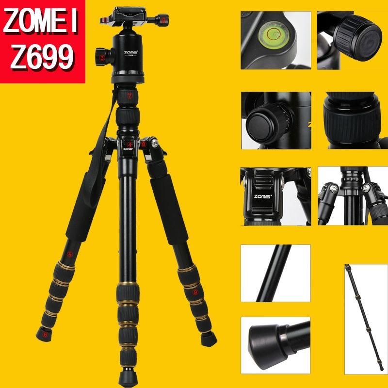 ФОТО Zomei Z699 Professional Portable Camera Video Photo Tripod with Quick Release Plate For Canon Nikon Sony DSLR Camera