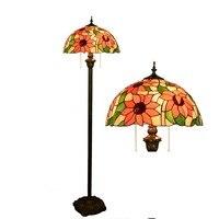16 zoll Tiffany sunflower Glasmalerei stehleuchte E27 110-240 V für Ausgangswohnzimmer Esszimmer bett Zimmer