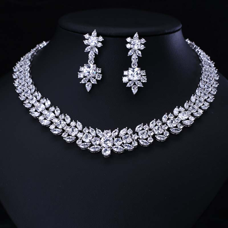 Luxury white gold-color Jewelry Sets round Shape Micro Inlay Small Stone Cubic Zirconia Crystal letter b shape rhinestone inlay hairclip