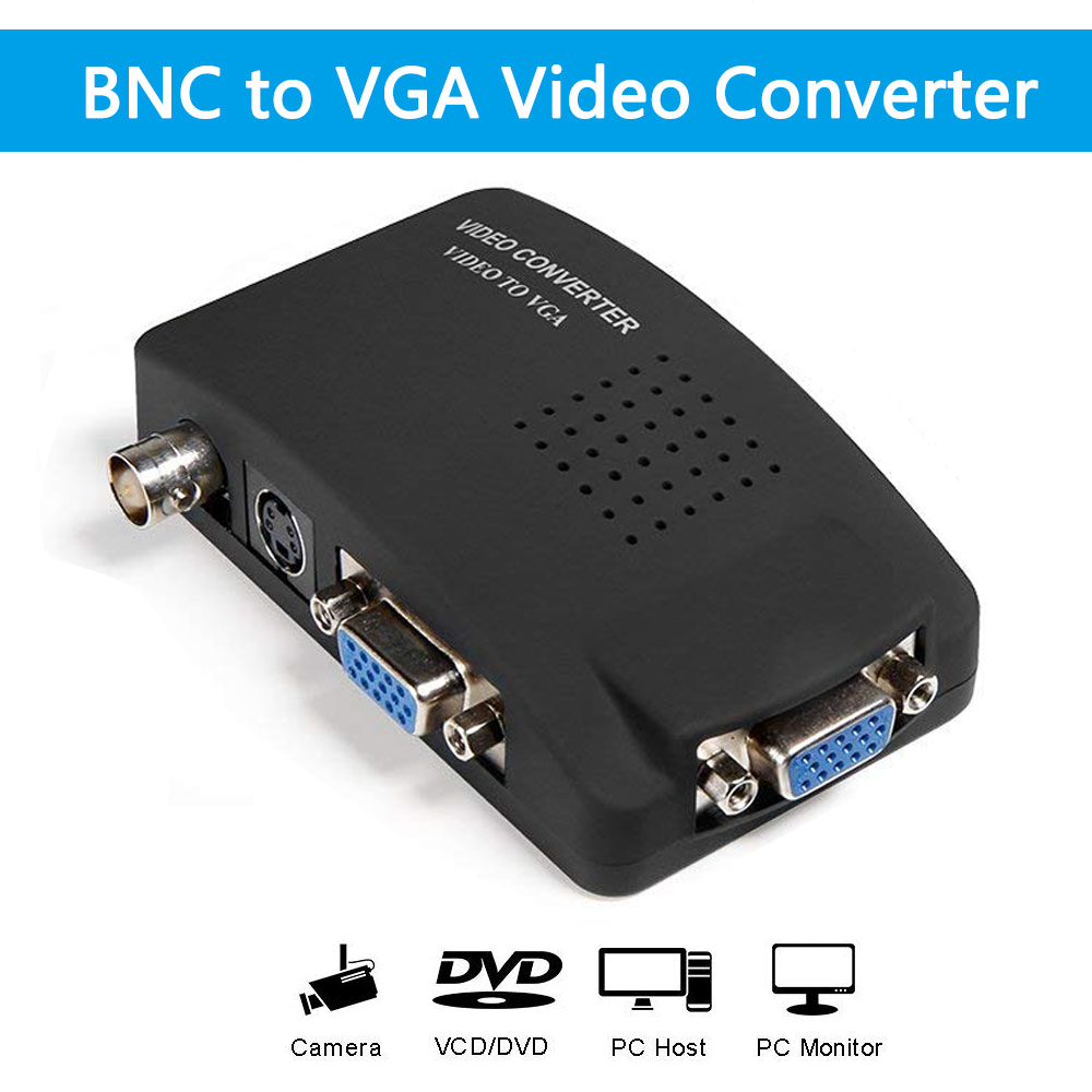 BNC To VGA Video Converter AV To VGA CVBS S Video Input To PC VGA Out Adapter Converter Switch Box For PC MACTV Camera DVD DVR
