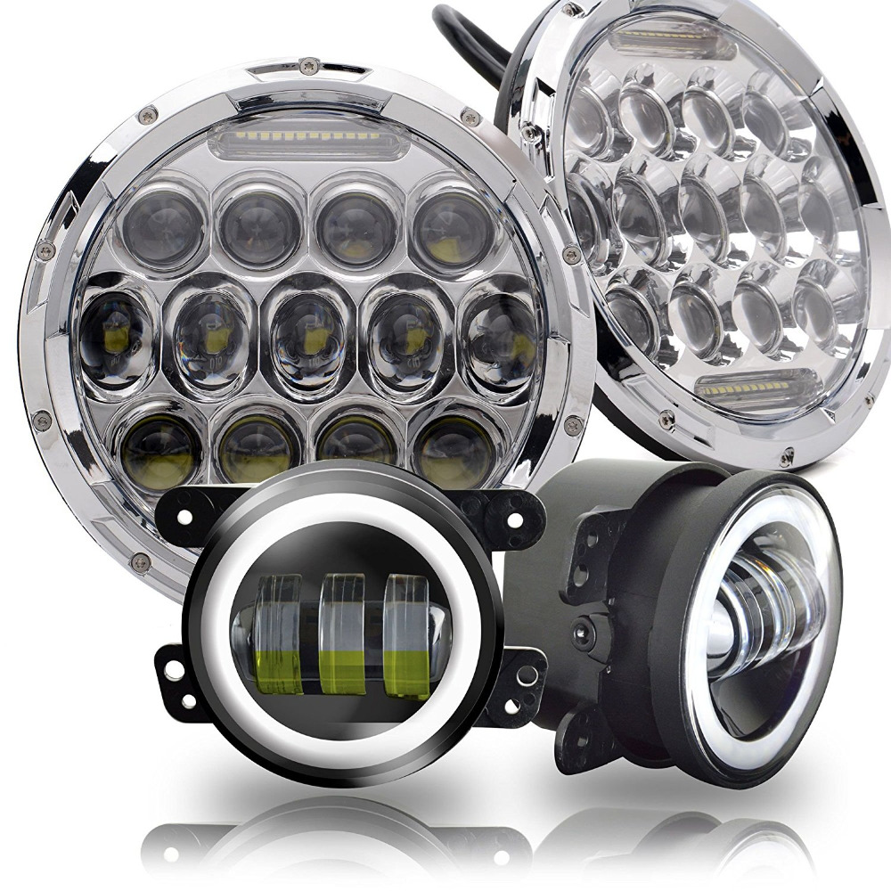DOT Approved 2PCS 7Inch Led Round Headlights Hi/Lo Beam DRL Chrome Projector Lamps + Pair 4Inch Front Bumper Fog Lights