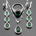 Silver Color Jewelry Sets For Women Geen Imitated Emerald White CZ Long Drop Earrings/Rings/Necklace/Pendant Free Gift Box