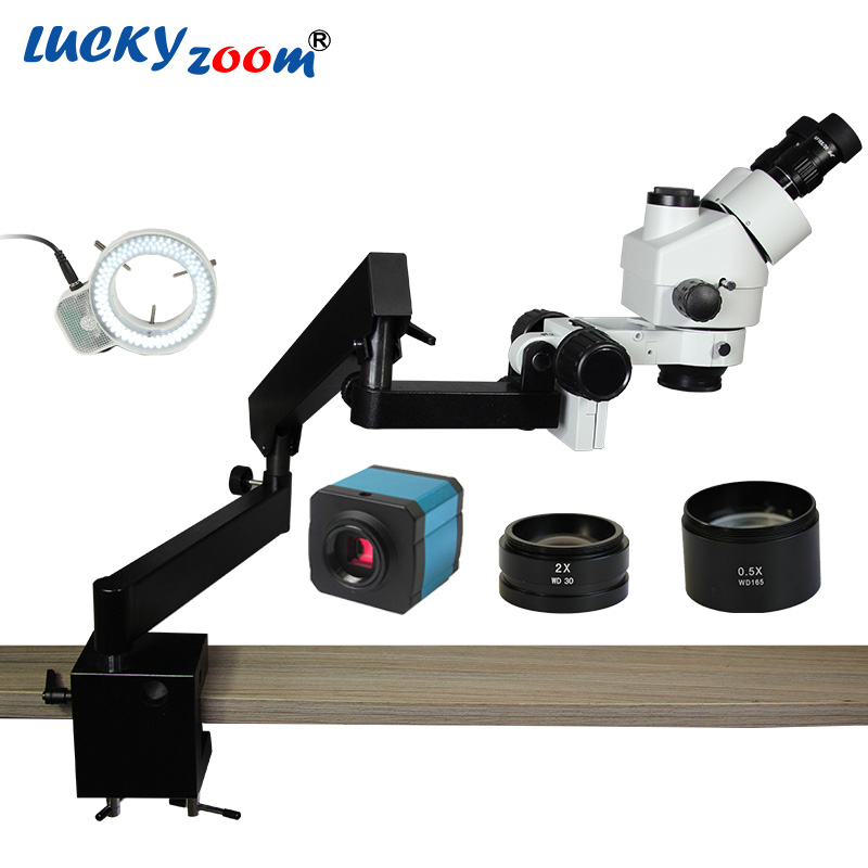Luckyzoom Brand 3.5X-90X Trinocular Articulating Arm Pillar Clamp 144-LED Stereo Zoom Microscope 14MP HDMI Microscopio Camera lucky zoom brand 3 5x 90x soldering microscope stereo zoom trinocular microscope repair articulating arm 0 5x 2 0x objective len