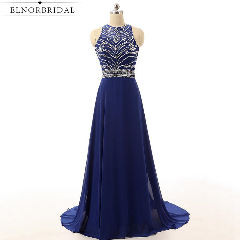 Navy Blue Sheer Prom Dresses Long 2017 Sexy Robe De Bal Beading Chiffon Formal Celebrity Dress Women Evening Gowns Free Shipping