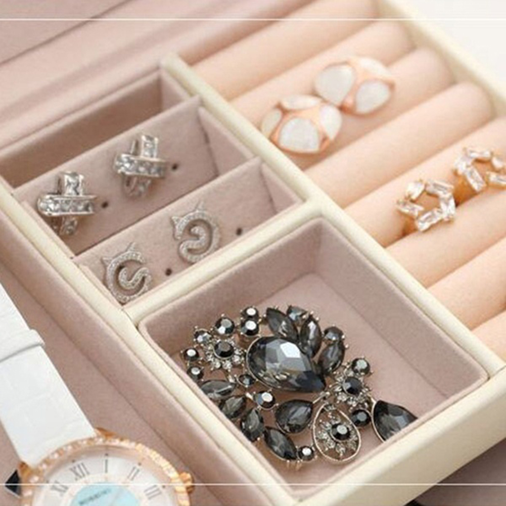 Image 5 - Faux Leather Jewelry Box Necklace Earring Bracelet Storage Case Cabinet Large Jewelry Packaging Boxes with 2 drawers 3 layers-in Jewelry Packaging & Display from Jewelry & Accessories