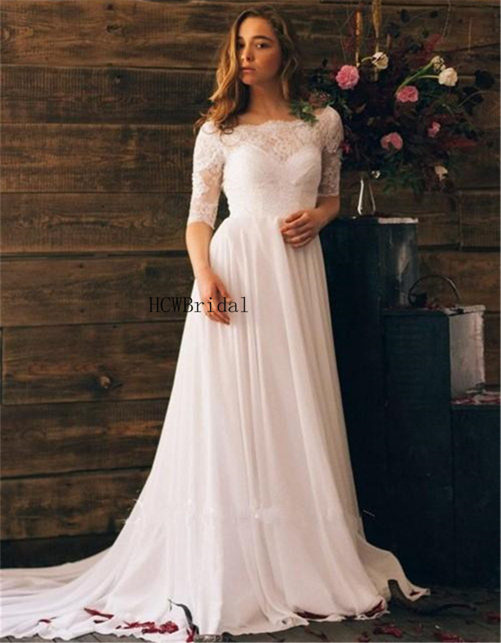Us 9261 37 Offsoft Lace Chiffon Wedding Dresses Backless Sweep Train A Line 34 Sleeve Simple Bridal Dress 2019 Hot Selling Bridal Party Gowns In