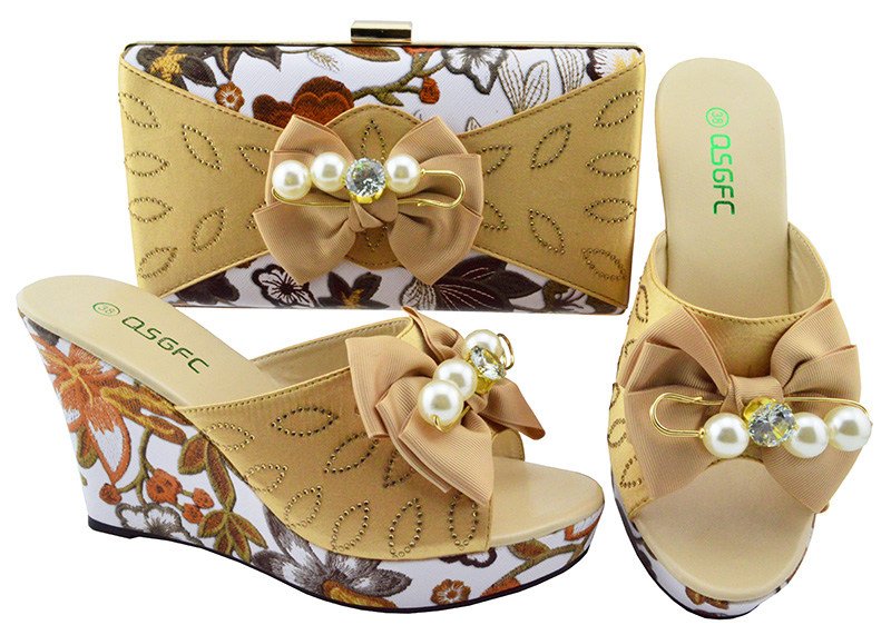 Latest Gold Color Italian Shoes with Matching Bag Set for Women High Quality African Women Shoe and Bag To Match for Parties