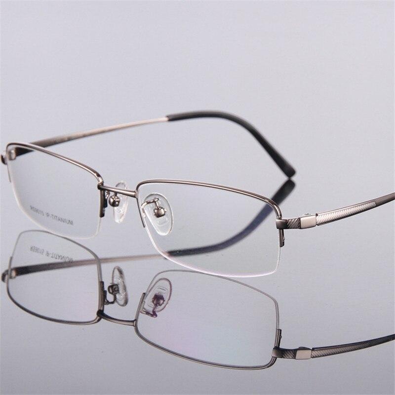 Hommes mode lunettes or ultra-léger titane cadres lunettes pour hommes optique cadre mince jambe demi-cerclée 015