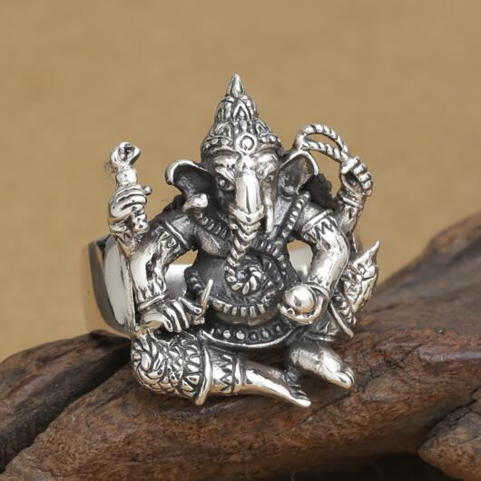 Handmade 925 silver ring elephant fortune buddha finger ring vingtage sterling silver good luck ring lucky jewelry ring elephant faux gem beaded ring