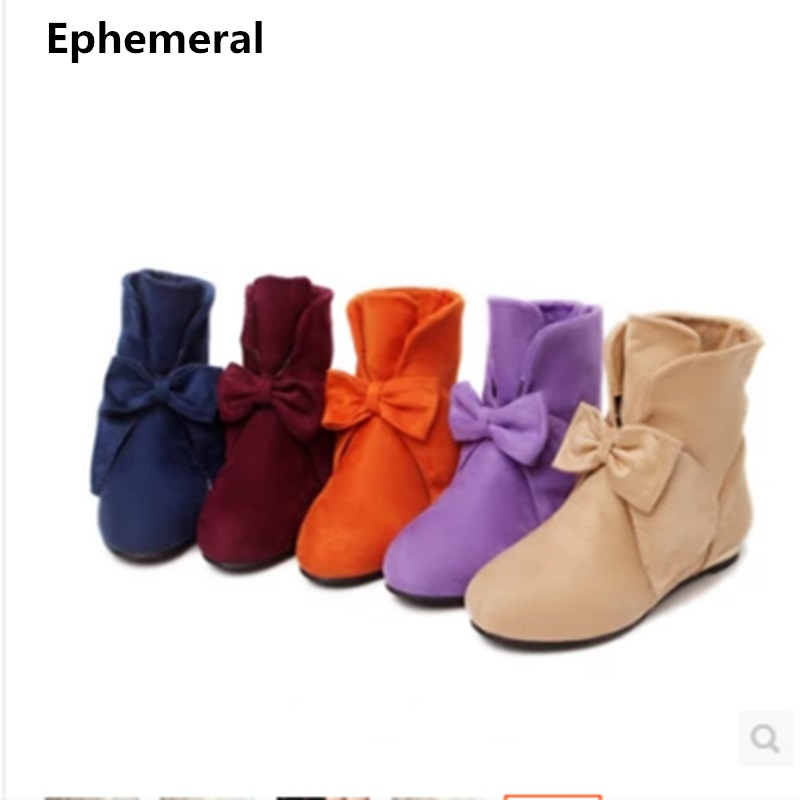 Ladies bow shoes round toe glitter increasing heel boots low heels flock fur botas zapatos mujer purple orange plus size 43 42 3