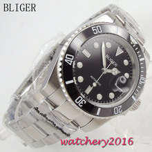 40mm Bliger black Dial Complete Calendar SS band Luminous Hand Auto font b Watch b font