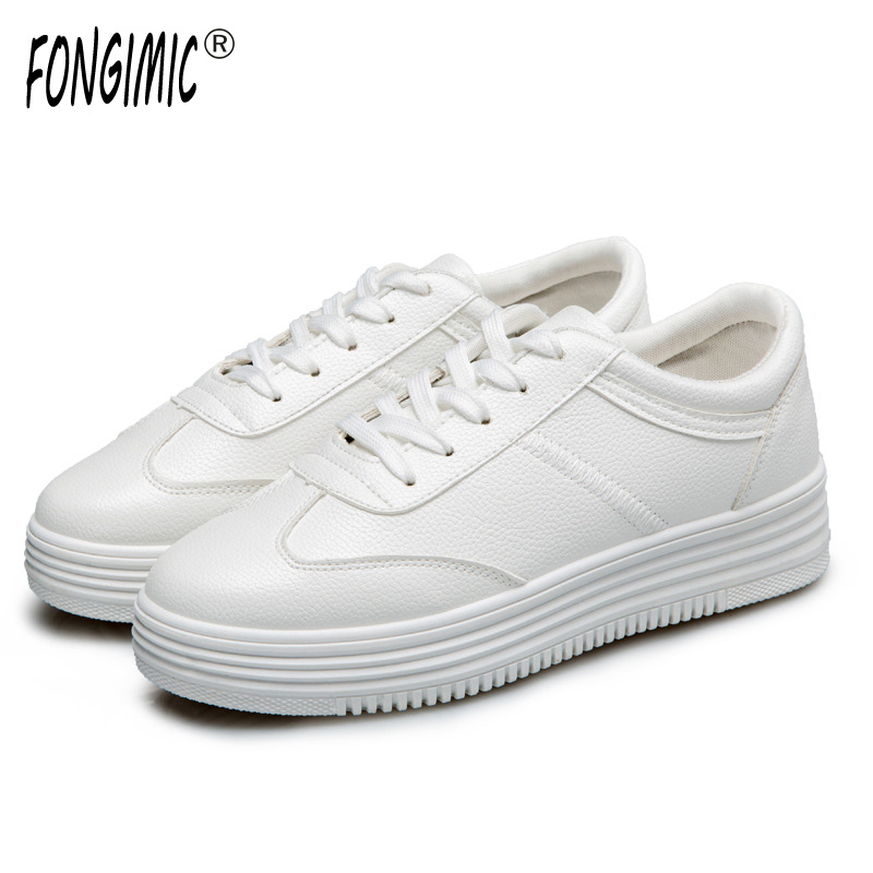 Fongimic Spring Autumn Women Flats Fashion Casual Style Shoes Round Toe Lace Up White Shoes Solid