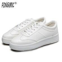 Fongimic Демисезонный Женские туфли-лодочки модная обувь в повседневном стиле круглый носок на шнуровке белые туфли Удобные однотонные увеличился на плоской подошве