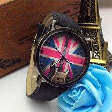 reloj mujer  2017 Relogio Feminino Fashion Man And Women Quartz Broadband Retro British Flag Denim Leather Watch#June14A