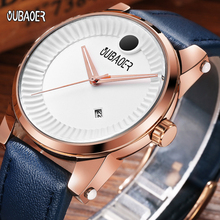 купить OUBAOER Top Brand Luxury Quartz Watches Men Business Casual Leather Hodinky Clock Man Waterproof Wristwatches Zegarek Meski 2019 дешево