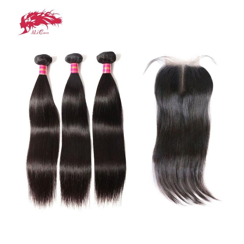 Ali queen Virgin бразильские прямые волосы 3 Связки с закрытием натуральный цвет средняя часть предварительно сорвал натуральные волосы кружева з...