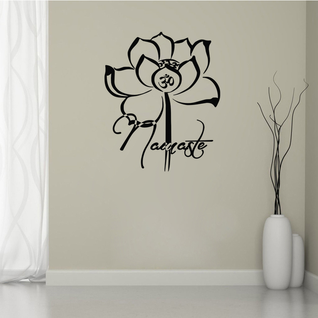 Yoga Om Symbol Wall Stickers Flowers Lotus Namaste Home Decor Decals Vinyl Buddhist Interior Design
