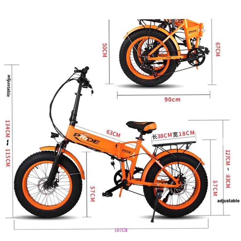 Electric Bike 48v10a Lithium Battery 20″ 4.0 Fat Tire Snow E Bike Aluminum Folding 350w Powerful Electric Bicycle Mountain Ebike