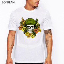 Skull and flowers printed t shirt men funny vogue tshirt harajuku kawaii clothes tumblr tops tee homme t-shirt