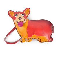 Handmade Imitation Leather Hand Bag Simple Fashion Personality Cute Cartoon Dog Purse Color Red