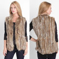Real Knitted Rabbit Fur Vest With Pocket Raccoon Fur Collar Waistcoats Women NO.VR004