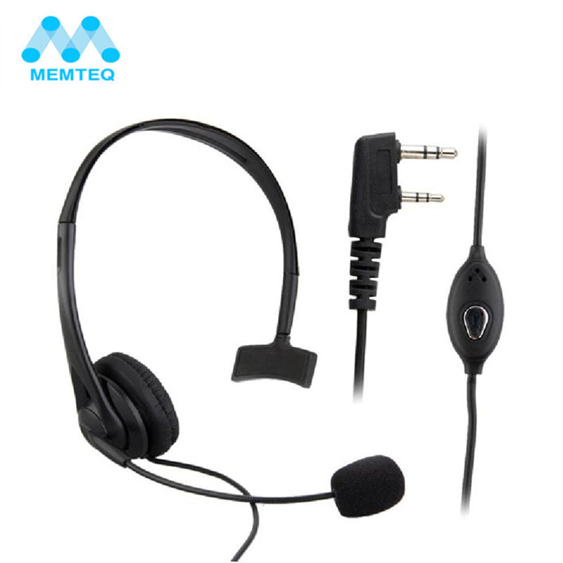 MEMTEQ Security Headset Earphone With Microphone Earpiece Talkabout Radio For Walkie Talkie 2 Pin Auriculares Headset best price 2 pin noise reduction concealment air duct earpiece for walkie talkie two way radio black c002