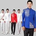 2015 мужской костюм мужской моды синий и белый фарфор белый вышивка китайский туника костюм костюм мужской одежды формальные платье
