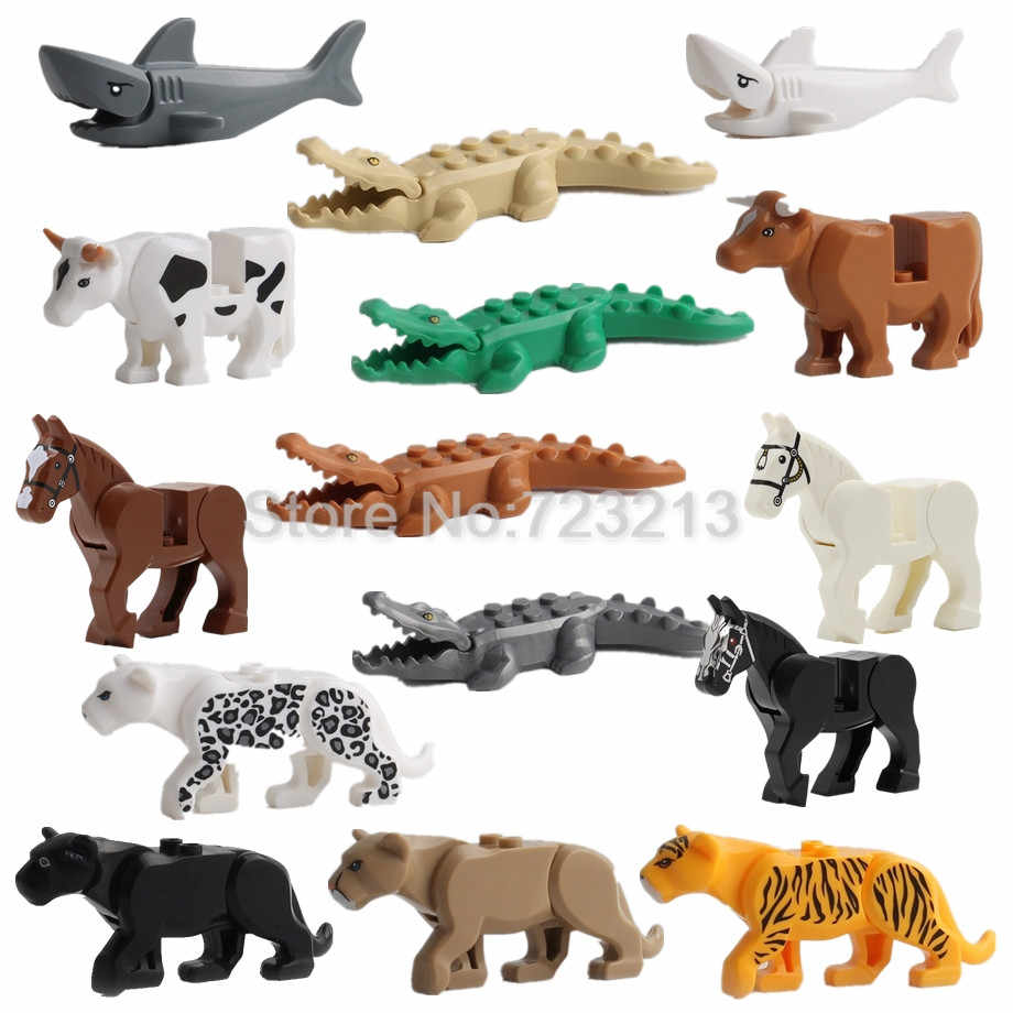 1 pcs Pantera Quente Snow Leopard Crocodile Animal Tigre Vaca Gado Cavalo Lobo Building Blocks Set MOC Bricks Modelo kits tijolos Brinquedos
