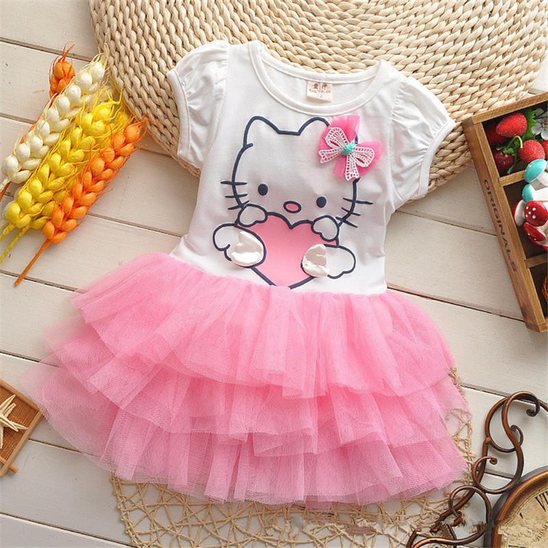 Baby Girl Tutu Dress Hello Kity Cartoon Cotton Cute Cake Dress Vestido Infantil Menina Fashion Short Sleeve Casual Summer Dress casual skew collar short sleeve bodycon dress