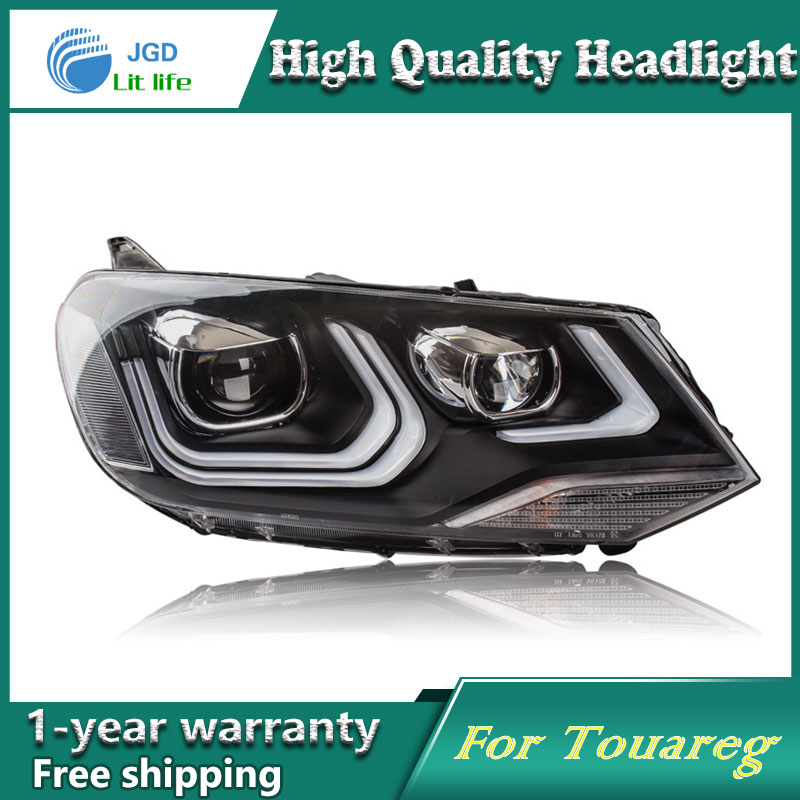 Car Styling Head Lamp case for VW Touareg Headlights LED Headlight DRL Lens Double Beam Bi-Xenon HID car Accessories hireno headlamp for 2016 hyundai elantra headlight assembly led drl angel lens double beam hid xenon 2pcs