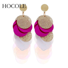 HOCOLE Bohemia Sequin Tassel Earrings Multilayer Colorful Long Drop Earrings For Women Wedding Statement Jewelry Pendientes цена