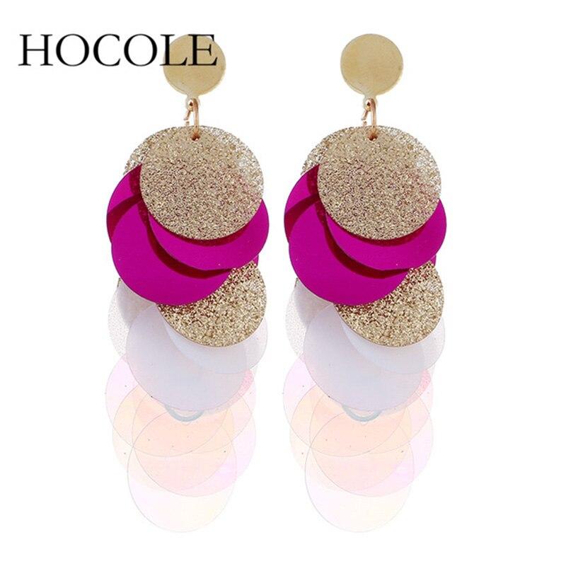 HOCOLE Bohemia Sequin Tassel Earrings Multilayer Colorful Long Drop Earrings For Women Wedding Statement Jewelry Pendientes