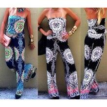 1Pc women Jumpsuits Strapless Backless Floral Print Long Jumpsuit Charming Women Elastic Waist Slim Playsuit