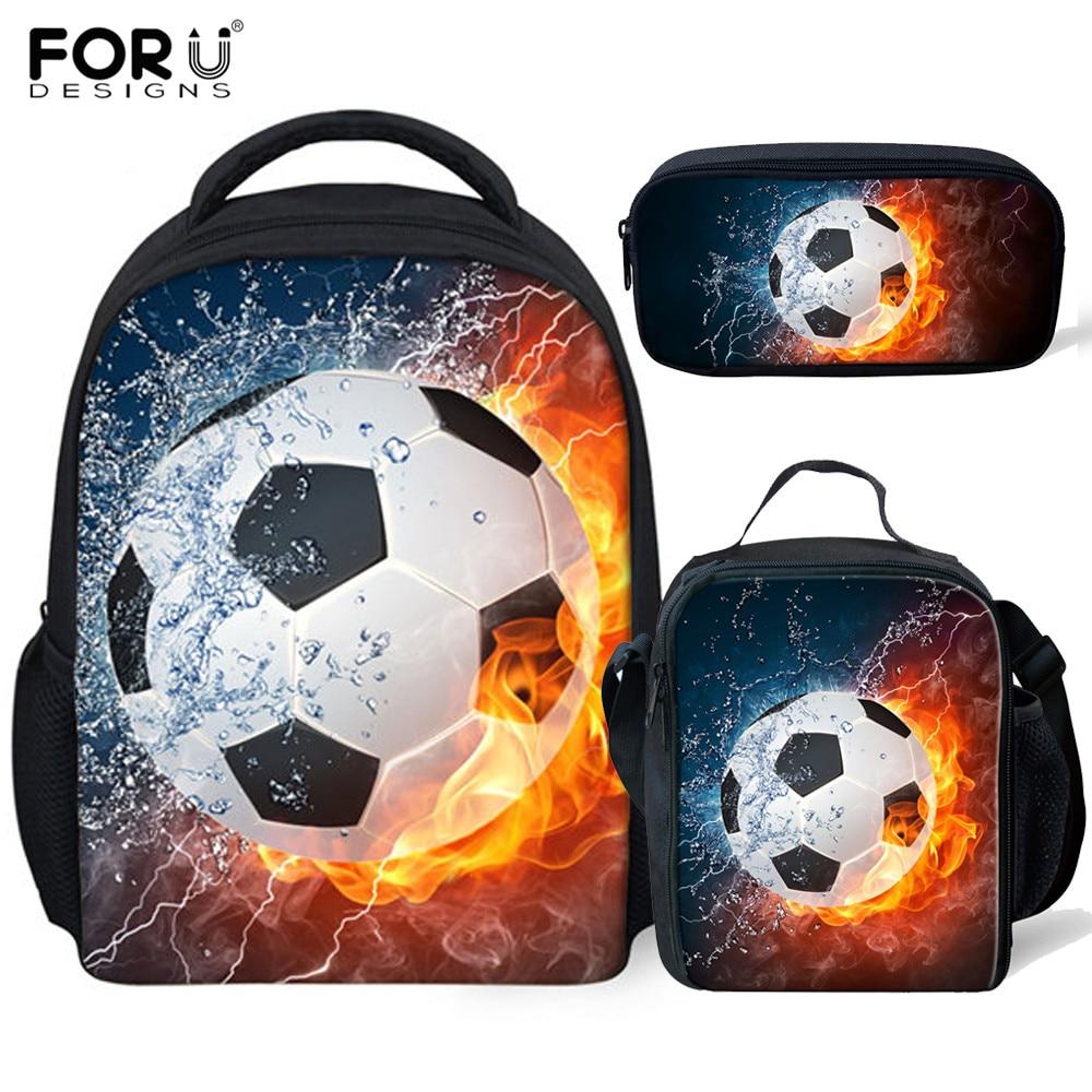 FORUDESIGNS 3Pcs/set Foot Ball School Bags For Boys Kids Kindergarten Soccer Backpack Toddler Small Bookbag Pencil Case Child