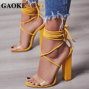 97813b140258aa GAOKE 2018 Summer High Heels Sandals Transparent Women