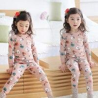2017 Autumn Kids Girls Pajamas Cotton Cartoon Print Infantil Home Sleepwear Long Sleeved T Shirt Pants