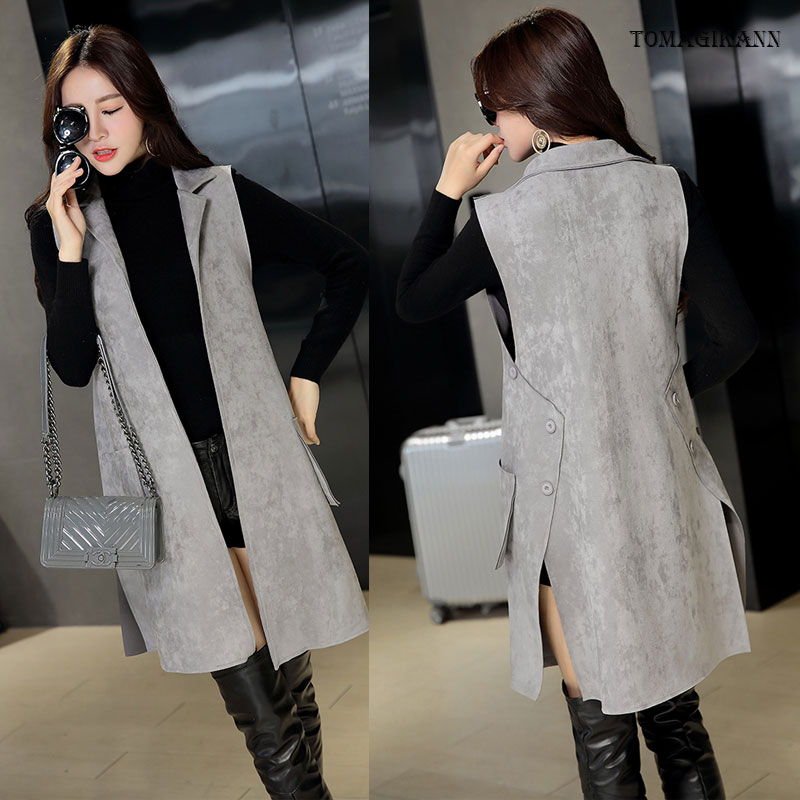 2017 New Casual Side Buttons Split Faux Suede Women Long Vest Coat Female Solid Pockets Soft